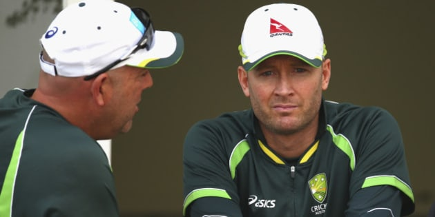 NOTTINGHAM, ENGLAND - AUGUST 08:  Australian coach Darren Lehmann and Michael Clarke of Australia talk after day three of the 4th Investec Ashes Test match between England and Australia at Trent Bridge on August 8, 2015 in Nottingham, United Kingdom.  (Photo by Ryan Pierse/Getty Images)