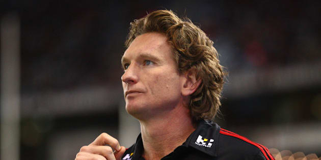 MELBOURNE, AUSTRALIA - AUGUST 15:  James Hird, coach of the Essendon Bombers looks on during the round 20 AFL match between the Essendon Bombers and the Adelaide Crows at Etihad Stadium on August 15, 2015 in Melbourne, Australia.  (Photo by Scott Barbour/Getty Images)