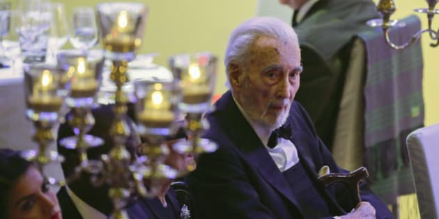 English actor Sir Christopher Lee attends the Cinema for Peace gala in Berlin, Monday, Feb. 9, 2015. (AP Photo/Markus Schreiber)
