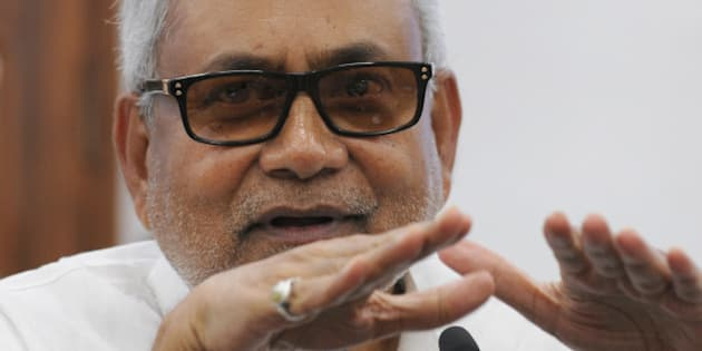 PATNA, INDIA - AUGUST 12: Bihar Chief Minister and JD(U) leader Nitish Kumar at a joint press conference to announce Maha Gathbandhan on August 12, 2015 in Patna, India. The RJD and JD-U announced that they will contest 100 seats each in the Bihar assembly election, leaving 40 seats to the Congress and three to the NCP. (Photo by AP Dube/Hindustan Times via Getty Images)