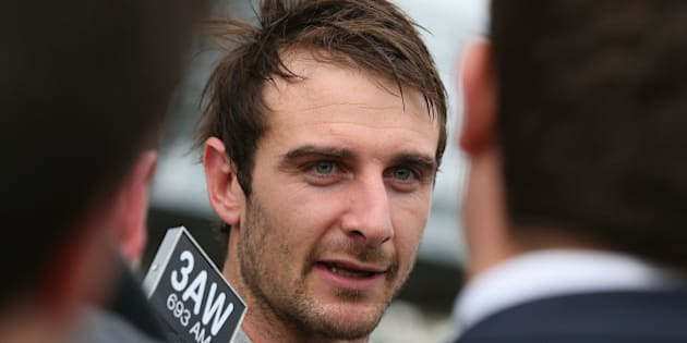 MELBOURNE, AUSTRALIA - AUGUST 18:  Bombers player Jobe Watson speaks to the media after James Hird announced  his resignation as head coach of the Essendon Bombers AFL Football Club at True Vaule Solar Centre on August 18, 2015 in Melbourne, Australia.  (Photo by Michael Dodge/Getty Images)