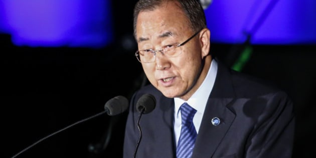 NEW YORK, NY - AUGUST 18: United Nations Secretary-General Ban Ki-moon speaks during the commemoration of 2015 World Humanitarian Day at the U.N. Headquarters on August 18, 2015 in New York CIty. (Photo by Kena Betancur/Getty Images)