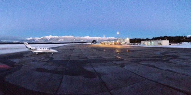Panoramic picture of the Terrace Airport on a clear winter morning.
