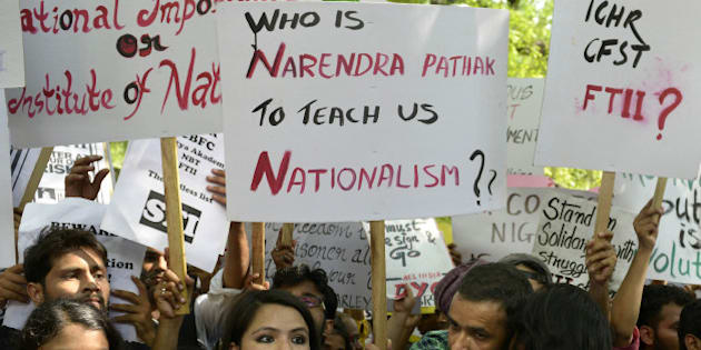 NEW DELHI,INDIA AUGUST 03 : FTII Students Protest against Gajendra Chouhan Elected Chairman of FTII at New Delhi.(Photo by Chandradeep Kumar/India Today Group/Getty Images)