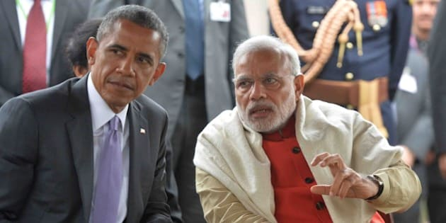 NEW DELHI, INDIA - 2015/01/26: The Prime Minister of India, Narendra Modi (right), with President Barack Obama (left) on the occasion of Republic Day at Rashtrapati Bhavan during his three days visit in India. (Photo by Bhaskar Mallick/Pacific Press/LightRocket via Getty Images)