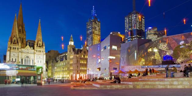 Australia, Victoria, Melbourne, Federation Square.