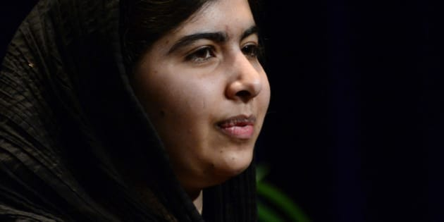 DENVER, CO - June 24: Malala Yousafzai, 17, speaks about her life before and after living under Taliban regime in Pakistan on Wednesday, June 24, 2015 at the Bellco Theater in Denver, Colorado. Yousafzai, who won the 2014 Nobel Peace Prize, is an advocate for education, especially for girls and women. She was shot in 2012 by the Taliban on her way home from school with friends for speaking out against girls getting the opportunity to get an education. (Photo By Brent Lewis/The Denver Post via Getty Images)