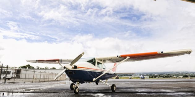Small plane in hangar