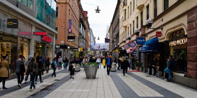 People on a street, Drottninggatan, Stockholm, Sweden