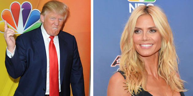 (FILE PHOTO) In this composite image a comparison has been made between Donald Trump (L) and Heidi Klum  ***LEFT IMAGE***   PASADENA, CA - JANUARY 16:  Donald Trump arrives at NBCUniversal's 2015 Winter TCA Tour - Day 2 at The Langham Huntington Hotel and Spa on January 16, 2015 in Pasadena, California.  (Photo by Angela Weiss/Getty Images)  **RIGHT IMAGE*** NEW YORK, NY - AUGUST 11:  Model/TV personality Heidi Klum attends the 'America's Got Talent' season 10 taping at Radio City Music Hall on August 11, 2015 in New York City.  (Photo by Michael Loccisano/Getty Images)