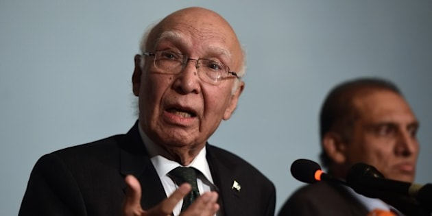 Pakistan Prime Minister Adviser on National Security and Foreign Affairs, Sartaj Aziz addresses a press briefing in Islamabad on August 22, 2015.  Pakistan's national security adviser insisted that he was ready to travel to New Delhi for talks with his Indian counterpart despite a row between the arch-rivals over his planned meeting with Kashmiri separatist leaders.  AFP PHOTO/ Farooq NAEEM        (Photo credit should read FAROOQ NAEEM/AFP/Getty Images)