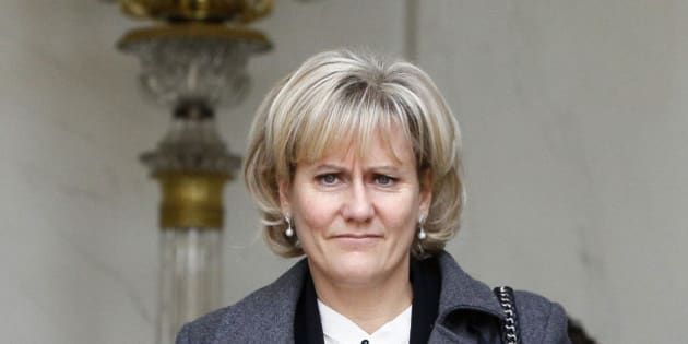 France's Minister for Apprenticeship and Professional Formation Nadine Morano, walks out after the weekly cabinet meeting at the Elysee Palace in Paris, Wednesday, Nov. 23, 2011. (AP Photo/Francois Mori)