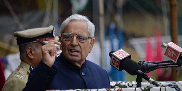 KASHMIR, INDIA - AUGUST 15: Kashmir's chief minister Mufti Mohammad Sayeed delivers a speech the official celebrations for India's Independence Day at Bakshi Stadium in Srinagar, the summer capital of Indian administered Kashmir on 15 August 2015. A complete shutdown called by Kashmiri separatists leader and an appeal of black day is being observed across Kashmir on August 15, 2015. (Photo by Faisal Khan/Anadolu Agency/Getty Images)