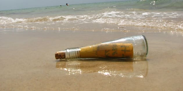 "We found this bottle in the water. It felt like in movie ""Message in the bottle"".. Of course we expected some love letter in it, but it said ""God is the answer"". Definitely not a love-love letter, but still a message written with love to God :-)"
