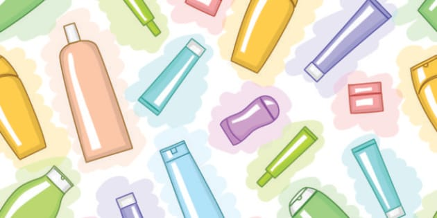 Seamless pattern with various multicolor cosmetic products