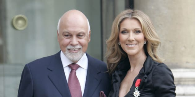 Canadian singer, Celine Dion, right, poses with her husband René Angelil, left, at the Elysee palace after being awarded of the Legion d'Honneur by French President Nicolas Sarkozy, in Paris, Thursday, May 22, 2008. (AP Photo/Thibault Camus)