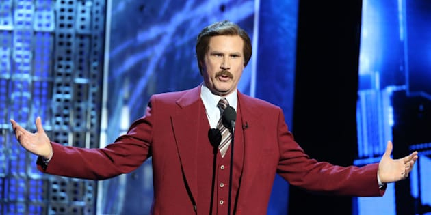 LOS ANGELES, CA - MARCH 14:  Will Ferrell (in character as 'Ron Burgundy') speaks onstage during Comedy Central Roast of Justin Bieber held at Sony Picture Studios on March 14, 2015 in Los Angeles, California.  (Photo by Michael Tran/FilmMagic)