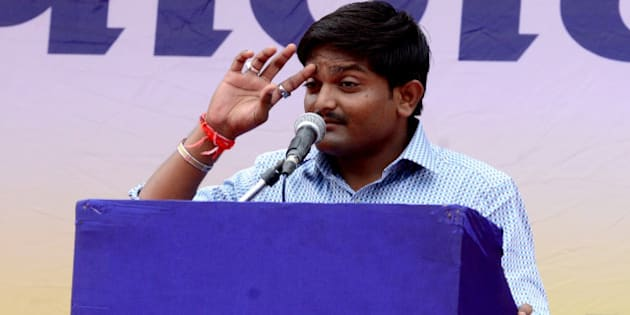 AHEMDABAD, INDIA  AUGUST 25: Hardik Patel at the 'Maha Kranti' rally at GMDC ground in Ahmedabad. The 'Maha Kranti' rally comes after a month-long agitation by the Patel community for their demand of reservation.(Photo by Shailesh Raval/India Today Group/Getty Images)