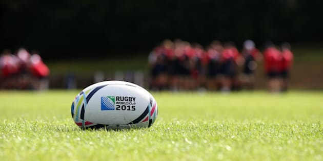 BAGSHOT, ENGLAND - AUGUST 26:  A Rugby World cup ball lies on the pitch as England train during the England training session held at Pennyhill Park on August 26, 2015 in Bagshot, England.  (Photo by David Rogers/Getty Images)