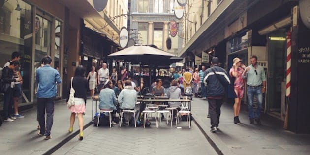 lunch at a street in CBD, Melbourne, Australia