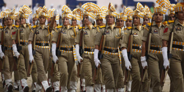 Women of Jammu and Kashmir police march on the occasion of 69th anniversary of India's independence from British rule, in Jammu, India, Saturday, Aug. 15, 2015. (AP Photo/Channi Anand)