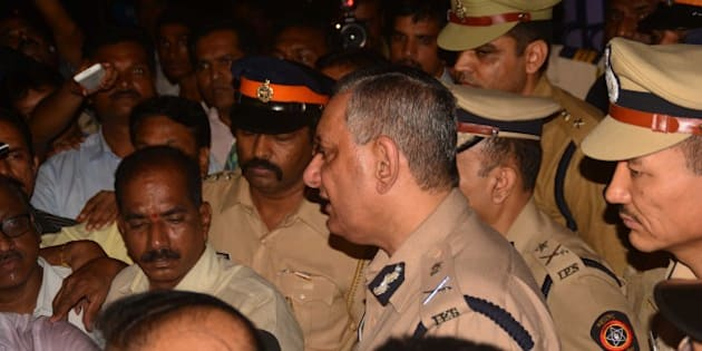 MUMBAI, INDIA - AUGUST 27: Mumbai Police Commissioner Rakesh Maria comes out of Khar Police station after interrogation in Sheena Bora Murder case on August 27, 2015 in Mumbai, India. Mumbai Police Commissioner Rakesh Maria is personally involved in the investigation being conducted by Khar police in suburban Mumbai. He had earlier questioned accused Indrani Mukherjea, mother of Sheena. Indrani's former husband Sanjeev Khanna from Kolkata whom she married in 1993, and her driver Shyam Rai from Mumbai, were also arrested in connection with the case. (Photo by Prashant Waydande/Hindustan Times via Getty Images)