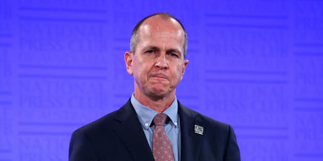 CANBERRA, AUSTRALIA - MARCH 26: (EUROPE AND AUSTRALASIA OUT) Australian Al Jazeera journalist Peter Greste addresses the National Press Club in Canberra, Australian Capital Territory. (Photo by Kym Smith/Newspix/Getty Images)