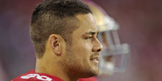 SANTA CLARA, CA - AUGUST 23:  Jarryd Hayne #38 of the San Francisco 49ers watches the end of the game from the sidelines against the Dallas Cowboys during a preseason game on August 23, 2015 at Levi's Stadium in Santa Clara, California.  (Photo by Brian Bahr/Getty Images)