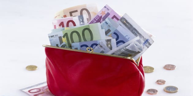 Euro bank notes and coins in purse, close-up