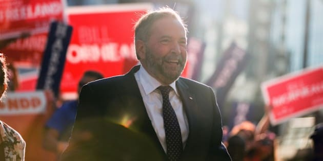 NDP leader Tom Mulcair arrives for the first federal leaders debate of the 2015 Canadian election campaign on August 6, 2015 in Toronto, Canada. The federal election is set for October 19, 2015.  AFP/ GEOFF ROBINS        (Photo credit should read GEOFF ROBINS/AFP/Getty Images)