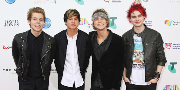 SYDNEY, AUSTRALIA - NOVEMBER 26:  Members of 'Five Seconds of Summer' arrive at the 28th Annual ARIA Awards 2014 at the Star on November 26, 2014 in Sydney, Australia.  (Photo by Don Arnold/WireImage)