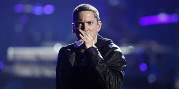 Eminem performs at the BET Awards on Sunday, June 27, 2010 in Los Angeles.  (AP Photo/Matt Sayles)