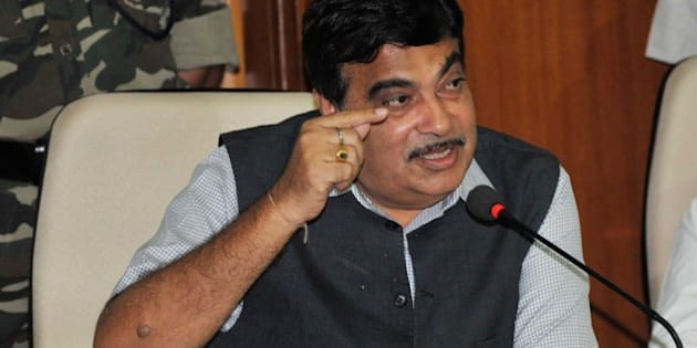 BHOPAL, INDIA - JUNE 20: Union Minister for Surface Transport, Highways and Shipping Nitin Gadkari addressing a press conference on June 20, 2015 in Bhopal, India. Gadkari assured that there will be no shortage of funds for the development of Madhya Pradesh, and Rs 15,000 crore would be allocated for development of roads in the state. During a function further he said, 'Waterways will be developed by conserving rivers in the country. In foreign countries, 90 per cent of industry is based along waterways while in India it is just 2.3 per cent.' (Photo by Praveen Bajpai/Hindustan Times via Getty Images)