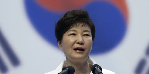 South Korean President Park Geun-hye speaks during a ceremony to celebrate Korean Liberation Day from Japanese colonial rule in 1945, in Seoul, South Korea, Saturday, Aug. 15, 2015. (Kim Hong-Ji/Pool Photo via AP)