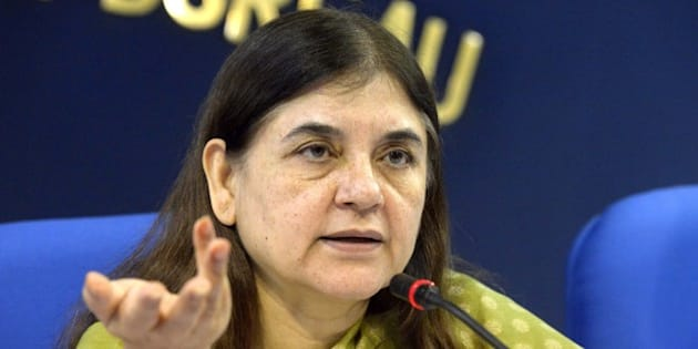 NEW DELHI,INDIA SEPTEMBER 17: Union Cabinet Minister for Women & Child Development Maneka Sanjay Gandhi addressing a press conference in New Delhi.(Photo  by Yasbant Negi/India Today Group/Getty Images)