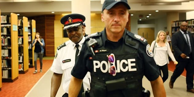 TORONTO, ON - SEPTEMBER 1: Toronto Police Chief Mark Saunders leaves  a carding consultation meeting at the Toronto Reference Library.        (Cole Burston/Toronto Star via Getty Images)