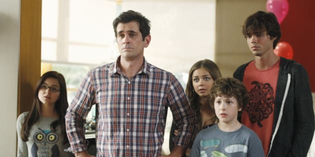 MODERN FAMILY - Emmy and Golden Globe Award-winning 'Modern Family' returns for its fourth season, WEDNESDAY, SEPTEMBER 26 (9:00-9:31 p.m., ET) on the ABC Television Network.  In the Season 4 premiere, 'Bringing Up Baby,' Jay's birthday is upon us again and, as before, he makes it well-known that he wishes to keep it as low key as possible, with no grand gestures or surprises. But leave it to the family to miss the mark yet again! Phil takes Jay on a very unconventional fishing trip with his buddies, and Gloria struggles with how to break the pregnancy news to him. Meanwhile, Dylan moves into the Dunphy household temporarily, and Mitch and Cam decide to look into adopting a cat as they continue to cope with their failed attempt to adopt another child. (Photo by Peter 'Hopper' Stone/ABC via Getty Images)