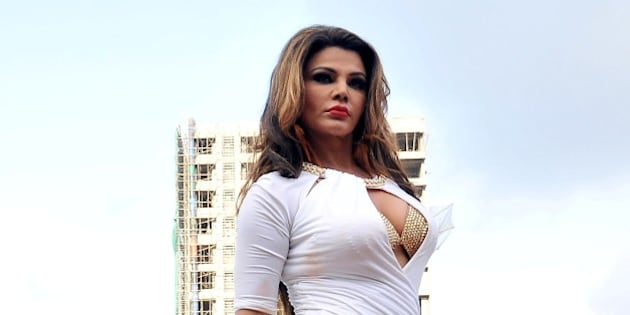 This photo taken on May 28, 2015 shows Indian politician, dancer, and Bollywood actress Rakhi Sawant posing as she shoots a music video for her song Party Punjabi Style in Mumbai. AFP PHOTO        (Photo credit should read STR/AFP/Getty Images)