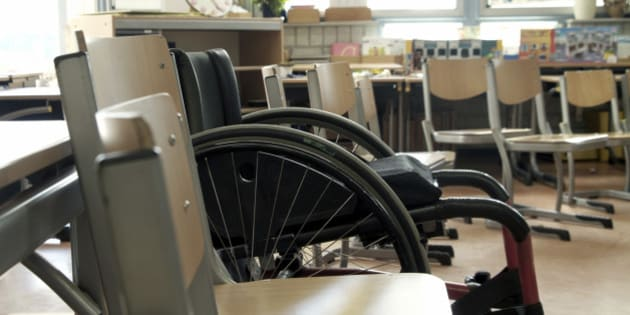 Wheelchair in a classroom.shallow DOF...