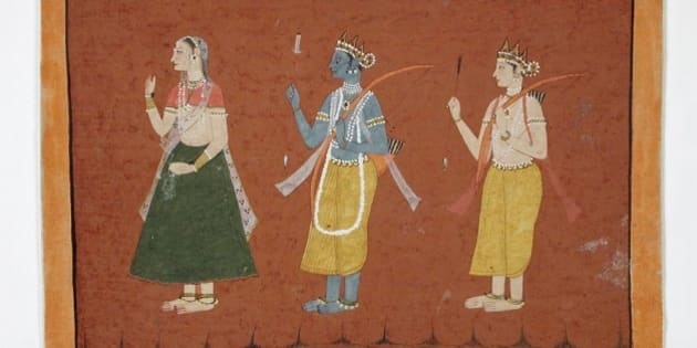 "<b> <a href=""http://commons.wikimedia.org/wiki/File:Rama,_Sita,_and_Lakshmana,_Folio_from_a_Ramayana_LACMA_M.87.278.10.jpg"" rel=""nofollow"">Wikimedia Commons image page</a></b>