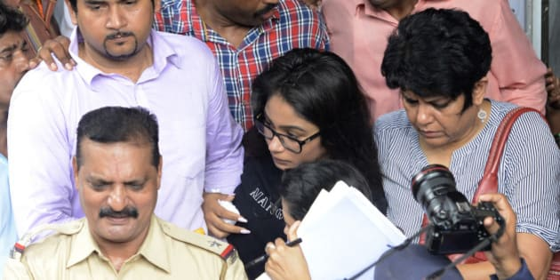 MUMBAI,INDIA AUGUST 31: Vidhie (in specs) daughter of Sanjeev Khanna and Indrani suspects in Sheena Bora murder case outside Bandra Court in Mumbai  along with other relatives.(Photo by Mandar Deodhar/India Today Group/Getty Images)