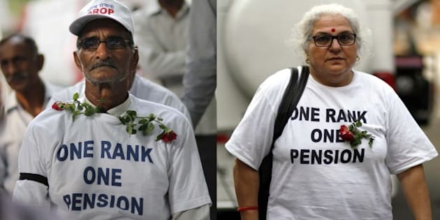 NEW DELHI, INDIA - AUGUST 28: Ex-servicemen protest demanding 'One Rank, One Pension' (OROP) scheme, at Jantar Mantar on August 28, 2015 in New Delhi, India. Two more ex-servicemen, who were on indefinite hunger strike, have been taken to hospital. Defence Minister Manohar Parrikar has said that Centre has approved OROP in principle some modalities still need to be worked out. (Photo by Arun Sharma/Hindustan Times via Getty Images)