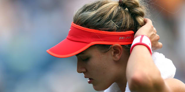 NEW YORK, NY - SEPTEMBER 04:  Eugenie Bouchard reacts against Dominika Cibulkova of Slovakia during their Women's Singles Third Round match  on Day Five of the 2015 US Open at the USTA Billie Jean King National Tennis Center on September 4, 2015 in the Flushing neighborhood of the Queens borough of New York City.  (Photo by Clive Brunskill/Getty Images)