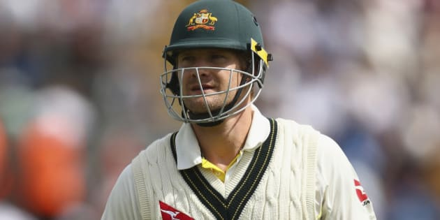 CARDIFF, WALES - JULY 11:  Shane Watson of Australia looks dejected after being dismissed LBW by Mark Wood of England during day four of the 1st Investec Ashes Test match between England and Australia at SWALEC Stadium on July 11, 2015 in Cardiff, United Kingdom.  (Photo by Ryan Pierse/Getty Images)