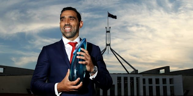 CANBERRA, AUSTRALIA - JANUARY 25: Adam Goodes poses for a portrait after being announced as the 2014 Australian of the Year at Parliament House on January 25, 2014 in Canberra, Australia. The annual award recognizes contributions of prominent Australians throughout the previous year. (Photo by Stefan Postles/Getty Images)
