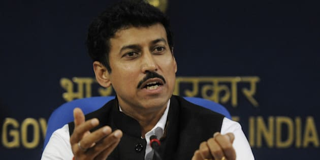 NEW DELHI, INDIA - NOVEMBER 11: Minister of State for Information & Broadcasting, Rajyavardhan Singh Rathore addressing a press conference on 45th International Film Festival of India on November 11, 2014 in New Delhi, India. 45th International Film Festival of India (IFFI 2014) will be held in Goa from 20th to 30th November 2014. (Photo by Vipin Kumar/Hindustan Times via Getty Images)