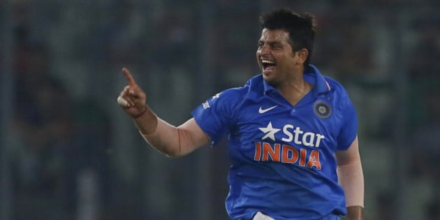 India's Suresh Raina, celebrates after the dismissal of Bangladesh's Mushfiqur Rahim during their third one-day international cricket match in Dhaka, Bangladesh, Wednesday, June 24, 2015. (AP Photo/ A.M. Ahad)
