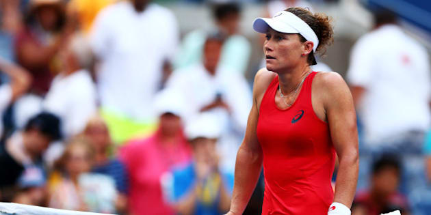 NEW YORK, NY - SEPTEMBER 07:  Samantha Stosur reacts after loosing to Flavia Pennetta of Italy during their Women's Singles Fourth Round match on Day Eight of the 2015 US Open at the USTA Billie Jean King National Tennis Center on September 7, 2015 in the Flushing neighborhood of the Queens borough of New York City.  (Photo by Elsa/Getty Images)