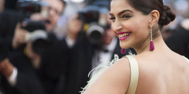 Actress Sonam Kapoor poses for photographers upon arrival for the screening of the film Inside Out at the 68th international film festival, Cannes, southern France, Monday, May 18, 2015. (Photo by Arthur Mola/Invision/AP)