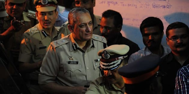 MUMBAI, INDIA - AUGUST 27: Mumbai Police Commissioner Rakesh Maria comes out of Khar Police station after interrogation in Sheena Bora Murder case on August 27, 2015 in Mumbai, India. Mumbai Police Commissioner Rakesh Maria is personally involved in the investigation being conducted by Khar police in suburban Mumbai. He had earlier questioned accused Indrani Mukherjea, mother of Sheena. Indrani's former husband Sanjeev Khanna from Kolkata whom she married in 1993, and her driver Shyam Rai from Mumbai, were also arrested in connection with the case. (Photo by Anshuman Poyrekar/Hindustan Times via Getty Images)